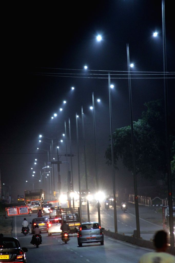 Greater Hyderabad Municipal Corporation (GHMC) replaced streetlights with LED lights in Hyderabad on Aug 9, 2017.