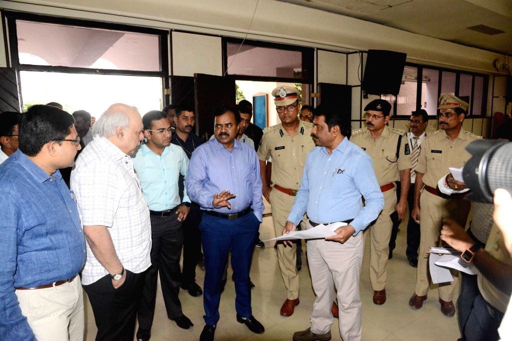 Greater Hyderabad Municipal Corporation (GHMC) Commissioner M. Dana Kishore during an inspection at a counting center in Hyderabad on Nov 2, 2018.