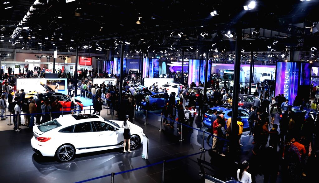 Greater Noida: A view of the BMW pavilion surrounded by visitors at the Auto Expo 2018 in Greater Noida on Feb 12, 2018.
