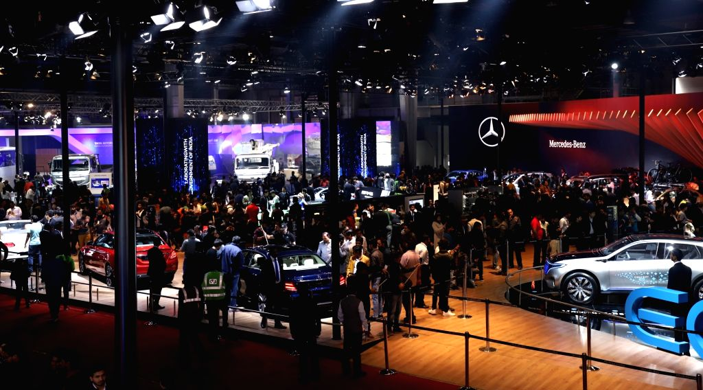 Greater Noida: A view of the Mercedes pavilion surrounded by visitors at the Auto Expo 2018 in Greater Noida on Feb 12, 2018.