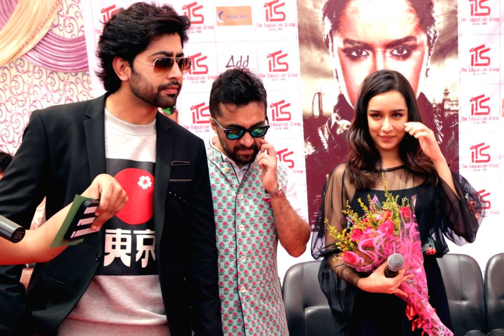 "Greater Noida: Actors Siddhanth Kapoor, Shraddha Kapoor and Ankur Bhatia during a press conference to promote their upcoming film ""Haseena Parkar"" in Greater Noida, Uttar Pradesh on Sept ... - Siddhanth Kapoor, Shraddha Kapoor and Ankur Bhatia"