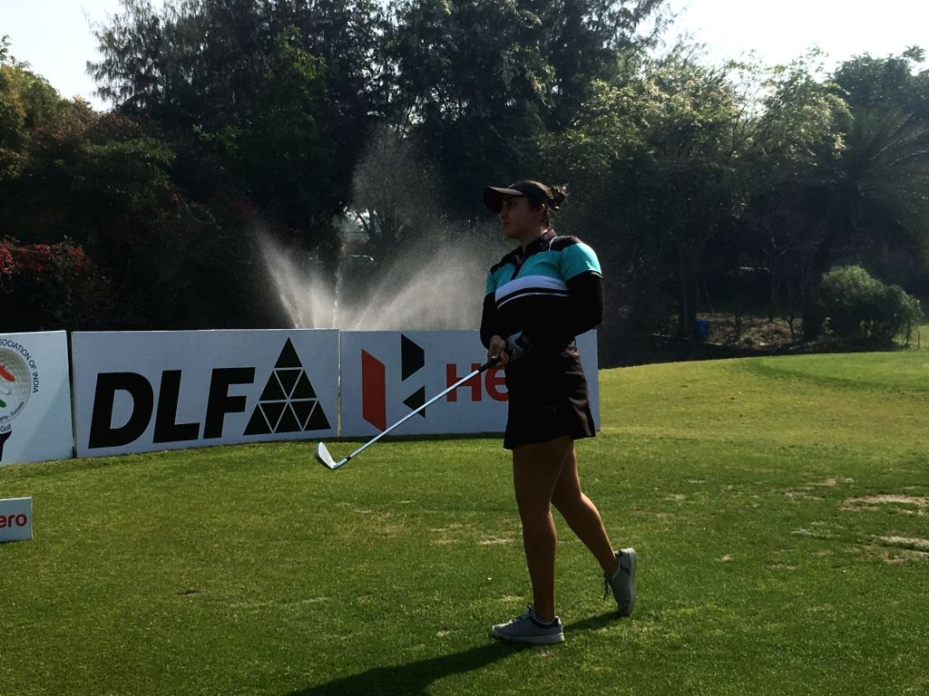 Greater Noida: Golfer Ridhima Dilawari during the sixth leg of Hero Women's Pro Golf Tour in Greater Noida on March 15, 2019.