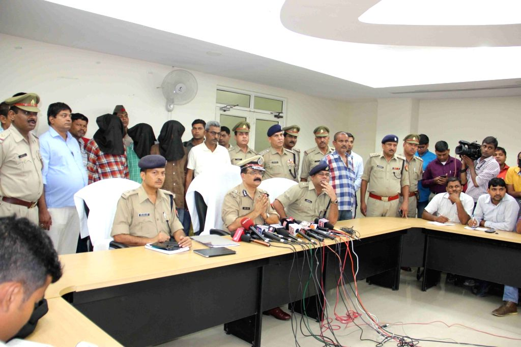 Greater Noida:  IG (Meerut) Sujit Pandey addresses a press conference after the prime accused along with two other accomplices in last month's Bulandshahr gang rape of a woman and her teenage ... - Sujit Pandey