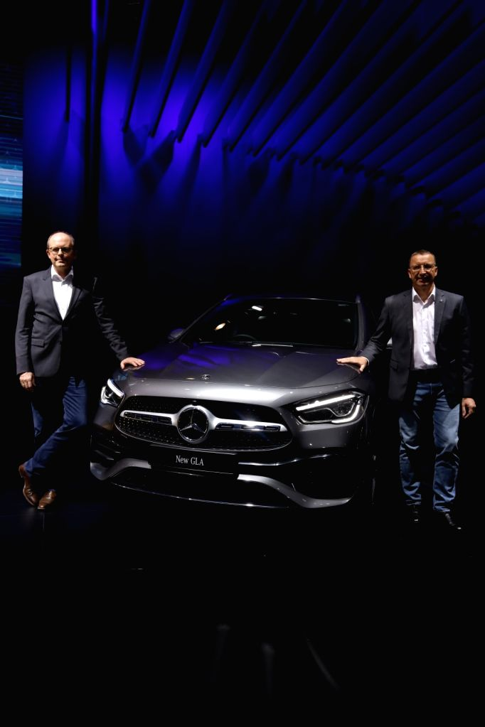 Greater Noida: Mercedes-Benz Head (Region Overseas) Matthias Luehers and Mercedes-Benz India MD and CEO Martin Schwenk with the New GLA unveiled at the Auto Expo 2020 in Greater Noida on Feb 5, 2020.