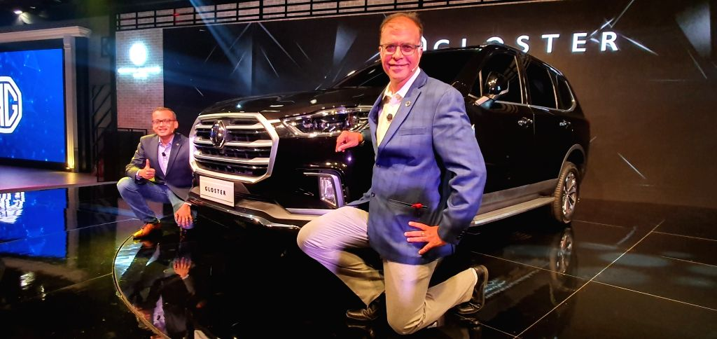 Greater Noida : MG Motors President and Managing Director Rajeev Chaba and Chief Commercial Officer Gaurav Gupta unveil Morris Garages Gloster 7-seater premium SUV at the 2020 Auto Expo in Greater ...