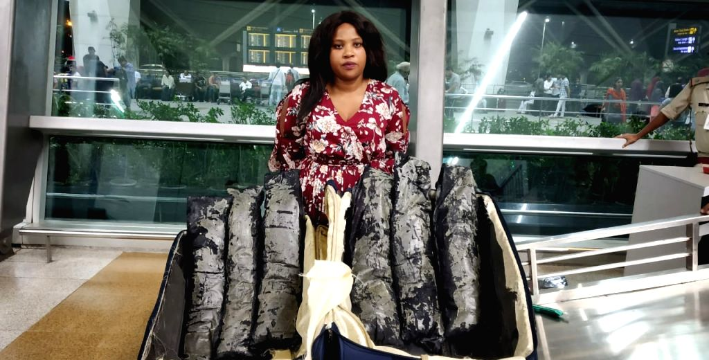 Greater Noida: Nomsa, 24, a South African national who was caught with 24.7 kg of pseudoephedrine drug in her luggage by Central Industrial Security Force (CISF) personnel deployed at Delhi's Indira Gandhi International Airport on 9th May, 2019. (Pho