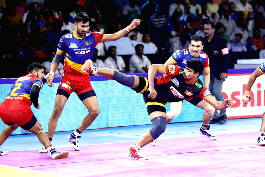 Greater Noida: Players in action during Pro Kabaddi Season 7 match between UP Yoddha and Bengaluru Bulls at Shaheed Vijay Singh Pathik Sports Complex, Greater Noida on Oct 11, 2019.