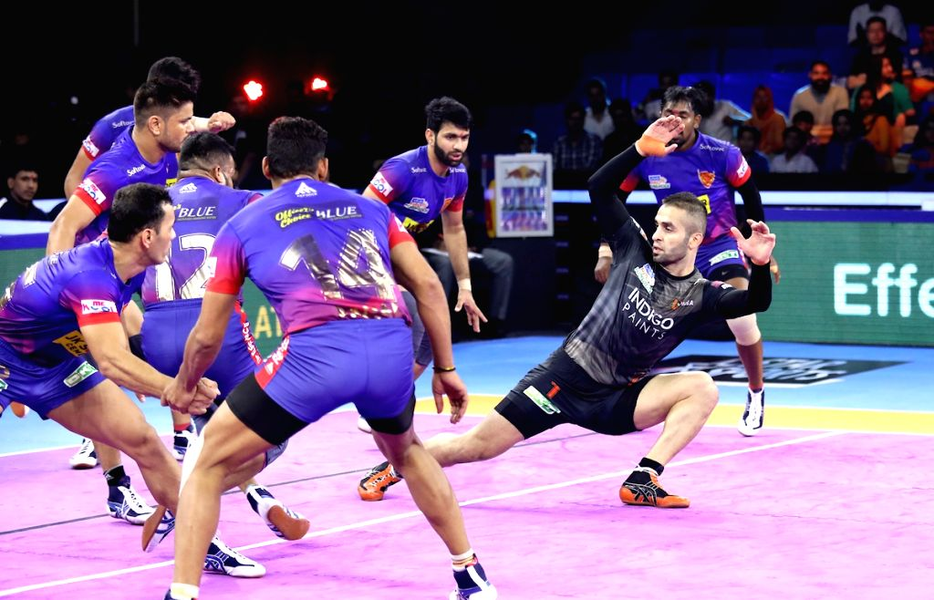 Greater Noida: Players in action during Pro Kabaddi Season 7 final match between U-Mumba and Dabang Delhi K.C at Shaheed Vijay Singh Pathik Sports Complex, Greater Noida on Oct 11, 2019.