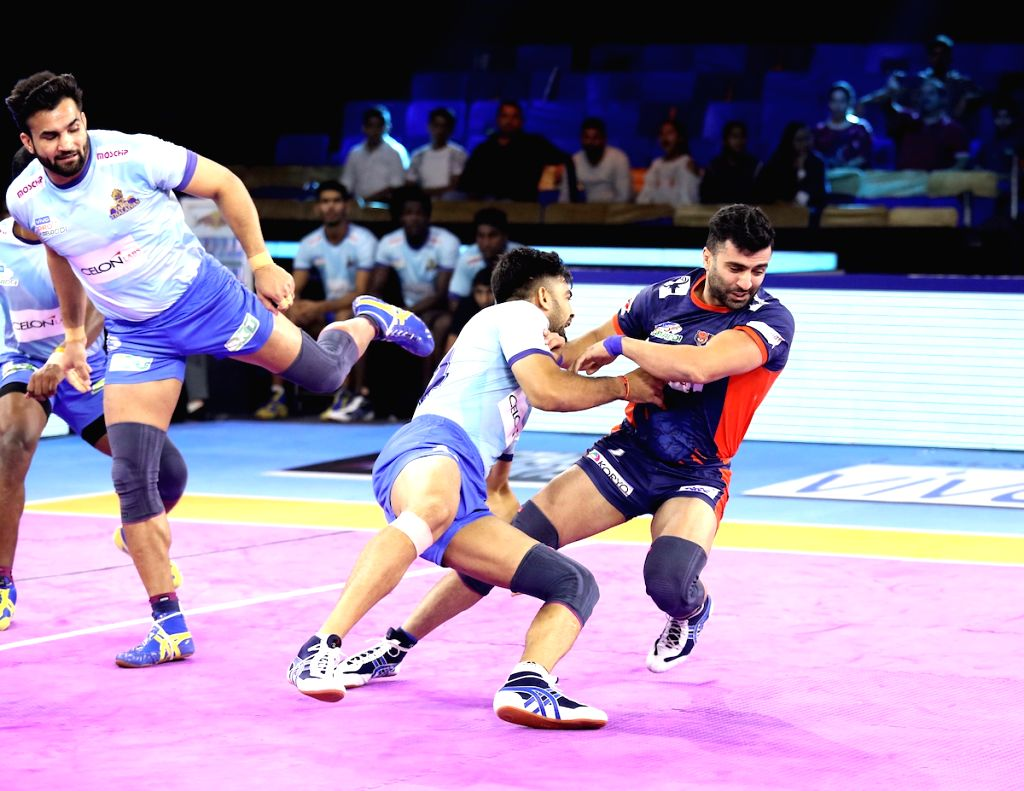 Greater Noida: Players in action during Pro Kabaddi Season 7 match between Bengal Warriors and Tamil Thalaivas at Shaheed Vijay Singh Pathik Sports Complex, Greater Noida on Oct 9, 2019. (Photo: IANS)