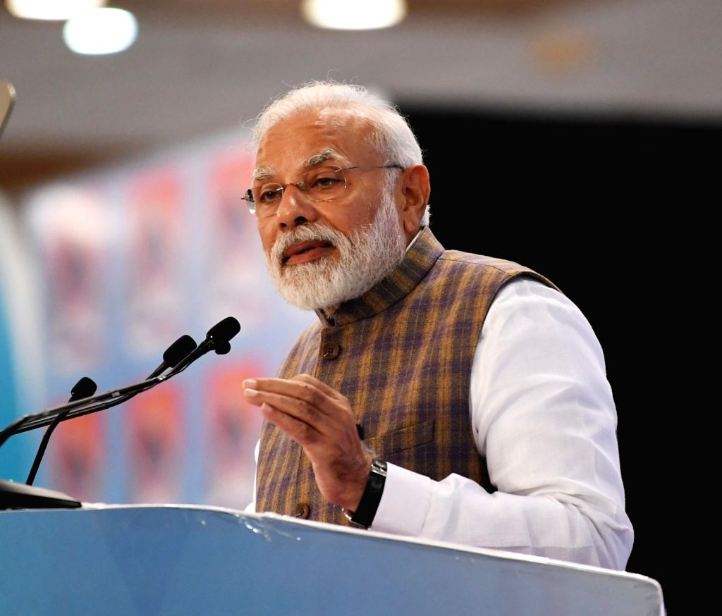 Greater Noida: Prime Minister Narendra Modi addresses at PETROTECH-2019 - the 13th International Oil and Gas Conference and Exhibition at Greater Noida in Uttar Pradesh on Feb 11, 2019. - Narendra Modi