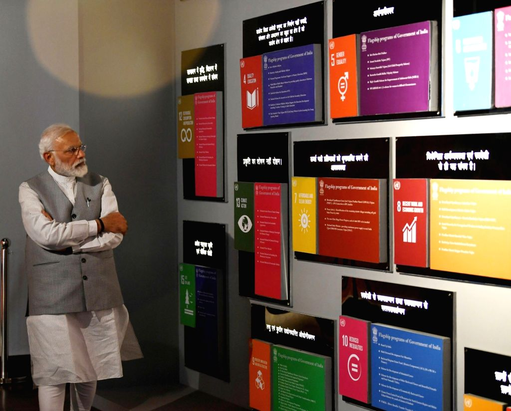 Greater Noida: Prime Minister Narendra Modi visits an exhibition at the Pandit Deendayal Upadhyaya Institute of Archaeology, at Greater Noida, Uttar Pradesh on March 9, 2019. - Narendra Modi