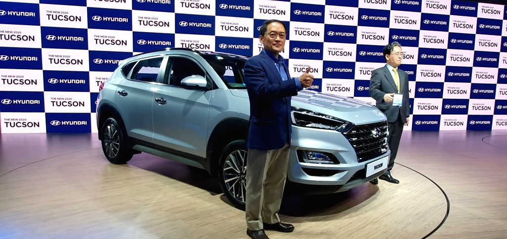 Greater Noida: South Korean Ambassador to India Shin Bong-kil and Hyundai Motor India MD and CEO S S Kim unveil the new Hyundai Tuscon at Auto Expo 2020, in Greater Noida on Feb 5, 2020.