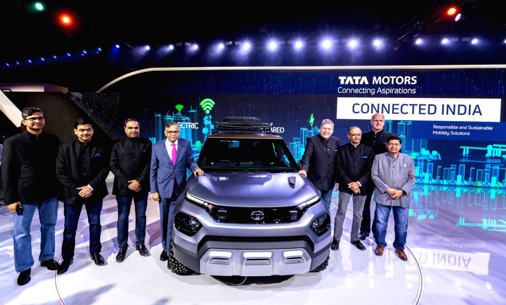 Greater Noida: Tata Sons Chairman N. Chandrasekaran along with the Tata Motors ership Team at Auto Expo 2020, in Greater Noida on Feb 5, 2020. At the show today, the company showcased 4 global ...