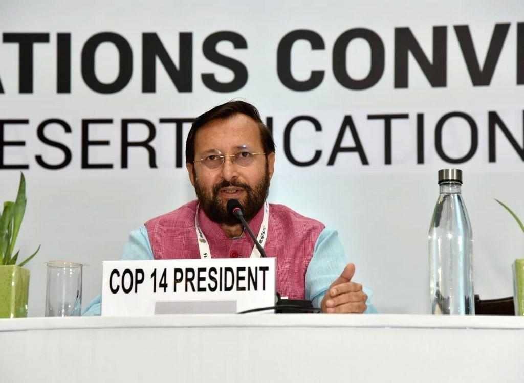 Greater Noida: Union Environment, Forest and Climate Change and Information and Broadcasting Minister Prakash Javadekar accompanied by United Nations Deputy Secretary-General Amina J. Mohammed, ... - Prakash Javadekar