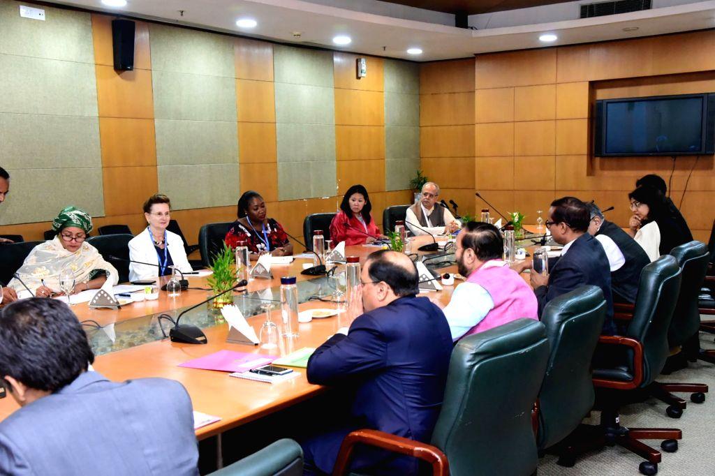 Greater Noida: Union Environment, Forest and Climate Change and Information and Broadcasting Minister Prakash Javadekar with United Nations Deputy Secretary-General Amina J. Mohammed ahead of ... - Prakash Javadekar