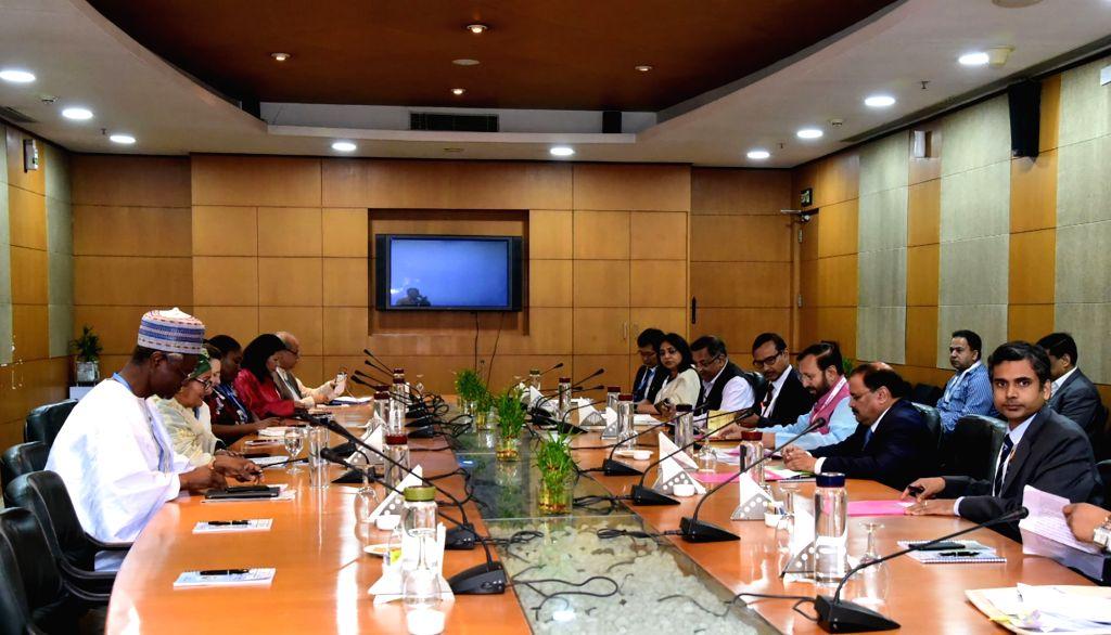 Greater Noida: Union Environment, Forest and Climate Change and Information and Broadcasting Minister Prakash Javadekar holds bilateral talks with United Nations Deputy Secretary-General Amina J. ... - Prakash Javadekar