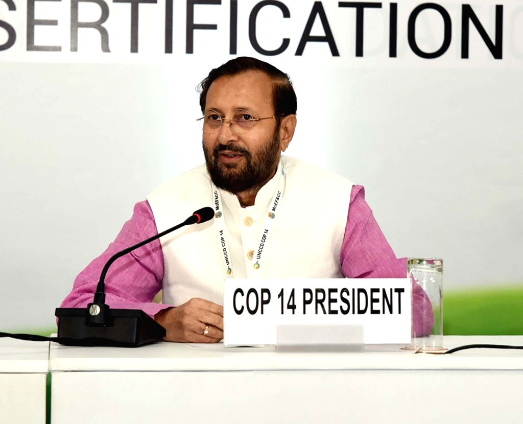 Greater Noida: Union Environment, Forest and Climate Change and Information and Broadcasting Minister Prakash Javadekar addresses a press conference on the concluding day of the 14th Conference of Parties (COP14) to the UNCCD, at India Expo Centre &  - Prakash Javadekar