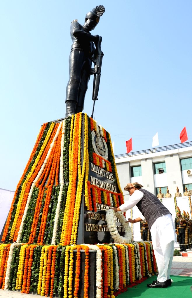 Greater Noida: Union Home Minister Rajnath Singh lays wreath at the Martyrs' Memorial during the 57th Raising Day Parade of Indo-Tibetan Border Police (ITBP) at 39th Battalion - ITBP Lakhnawali Camp, ... - Rajnath Singh