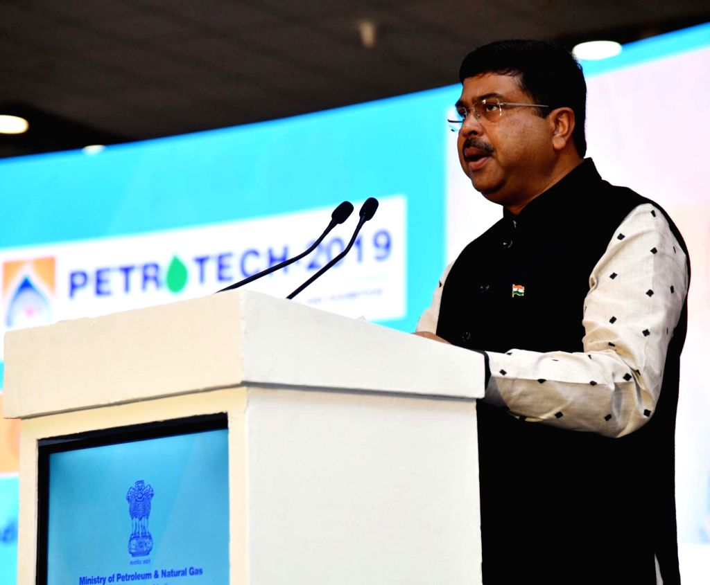 Greater Noida: Union Petroleum Minister Dharmendra Pradhan addresses at PETROTECH – 2019, in Greater Noida, Uttar Pradesh on Feb 10, 2019. - Dharmendra Pradhan