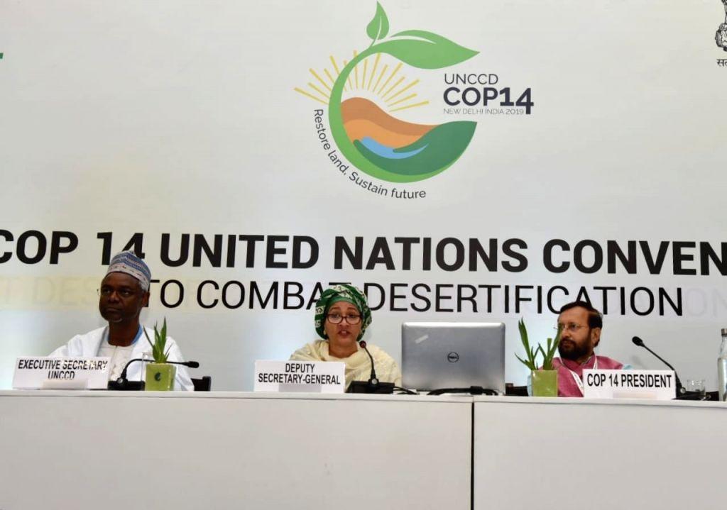 Greater Noida: United Nations Deputy Secretary-General Amina J. Mohammed accompanied by Union Environment, Forest and Climate Change and Information and Broadcasting Minister Prakash Javadekar, ... - Prakash Javadekar