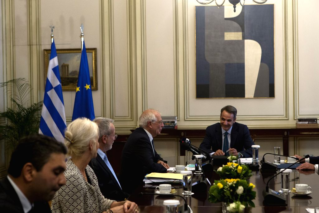 Greek Prime Minister Kyriakos Mitsotakis (1st R) meets with Josep Borrell (2nd R), the European Union's (EU) high representative for foreign affairs and security ... - Kyriakos Mitsotakis