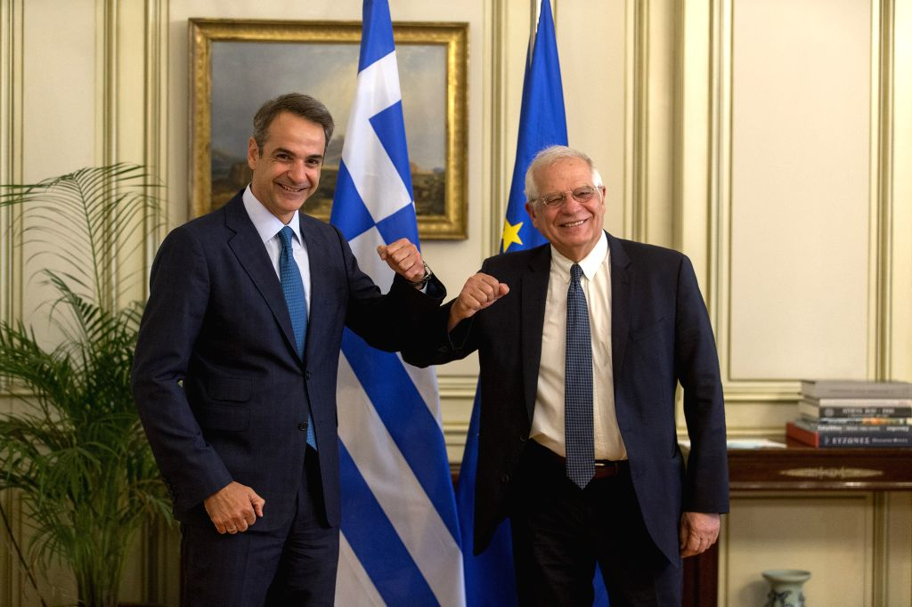 Greek Prime Minister Kyriakos Mitsotakis (L) greets Josep Borrell, the European Union's (EU) high representative for foreign affairs and security policy, at the ... - Kyriakos Mitsotakis