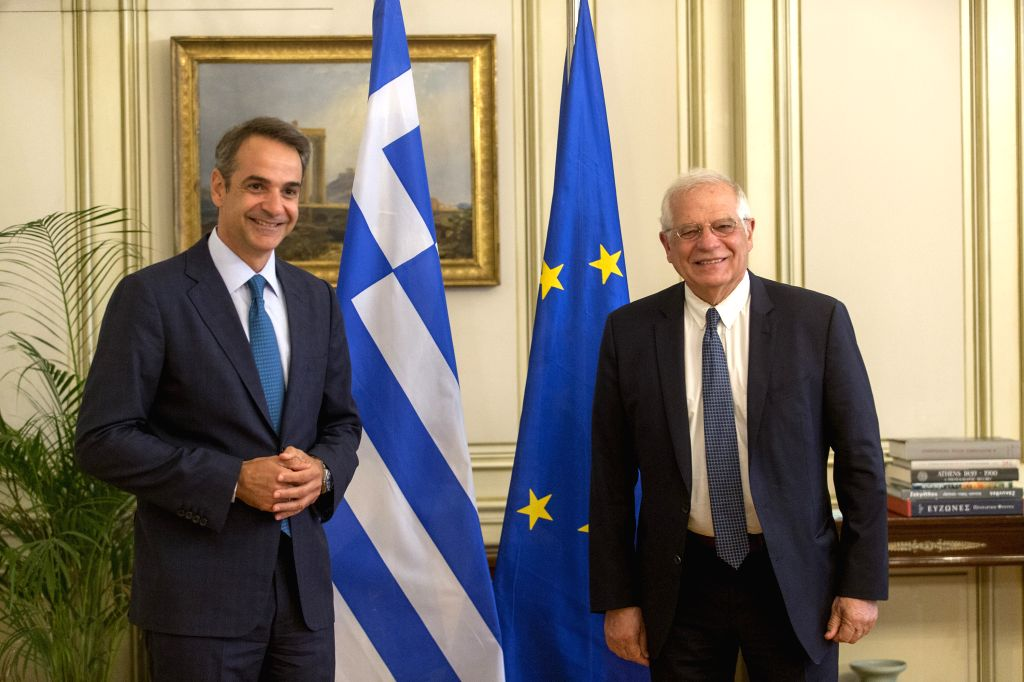 Greek Prime Minister Kyriakos Mitsotakis (L) meets with Josep Borrell, the European Union's (EU) high representative for foreign affairs and security policy, at the ... - Kyriakos Mitsotakis