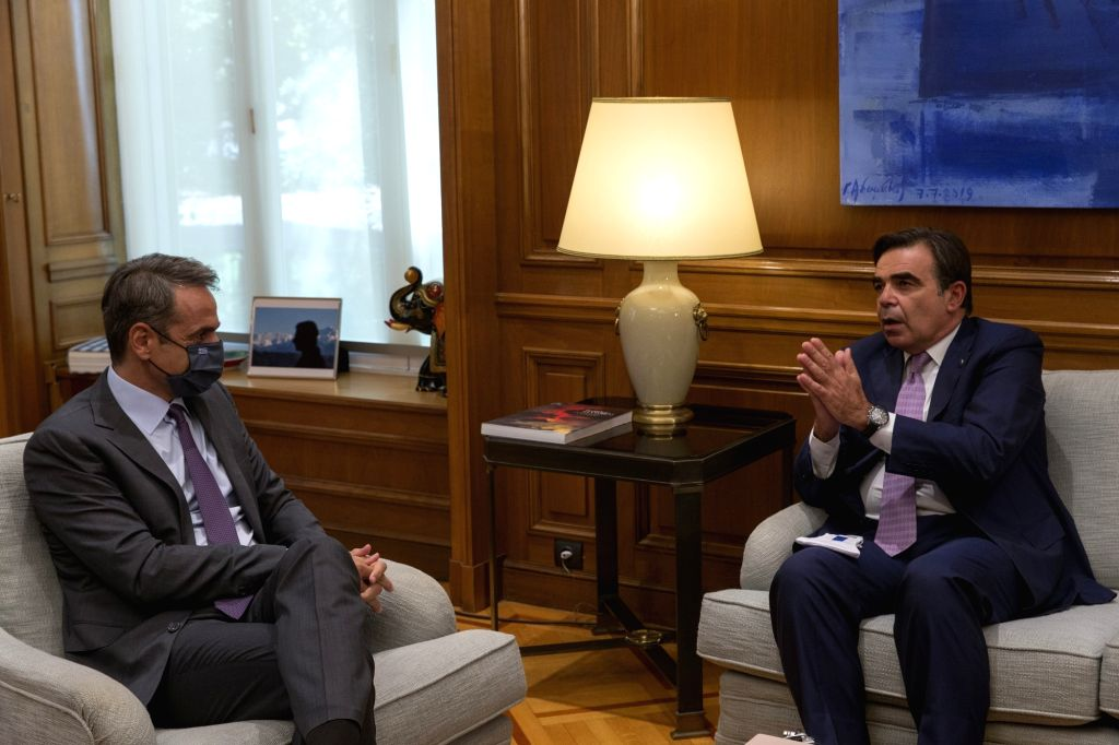Greek Prime Minister Kyriakos Mitsotakis (L) meets with European Commission Vice President Margaritis Schinas in Athens, Greece, on Sept. 11, 2020. Greece's ... - Kyriakos Mitsotakis
