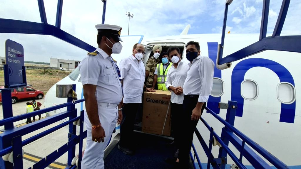 Greenko's first consignment of oxygen concentrators land in Hyderabad.