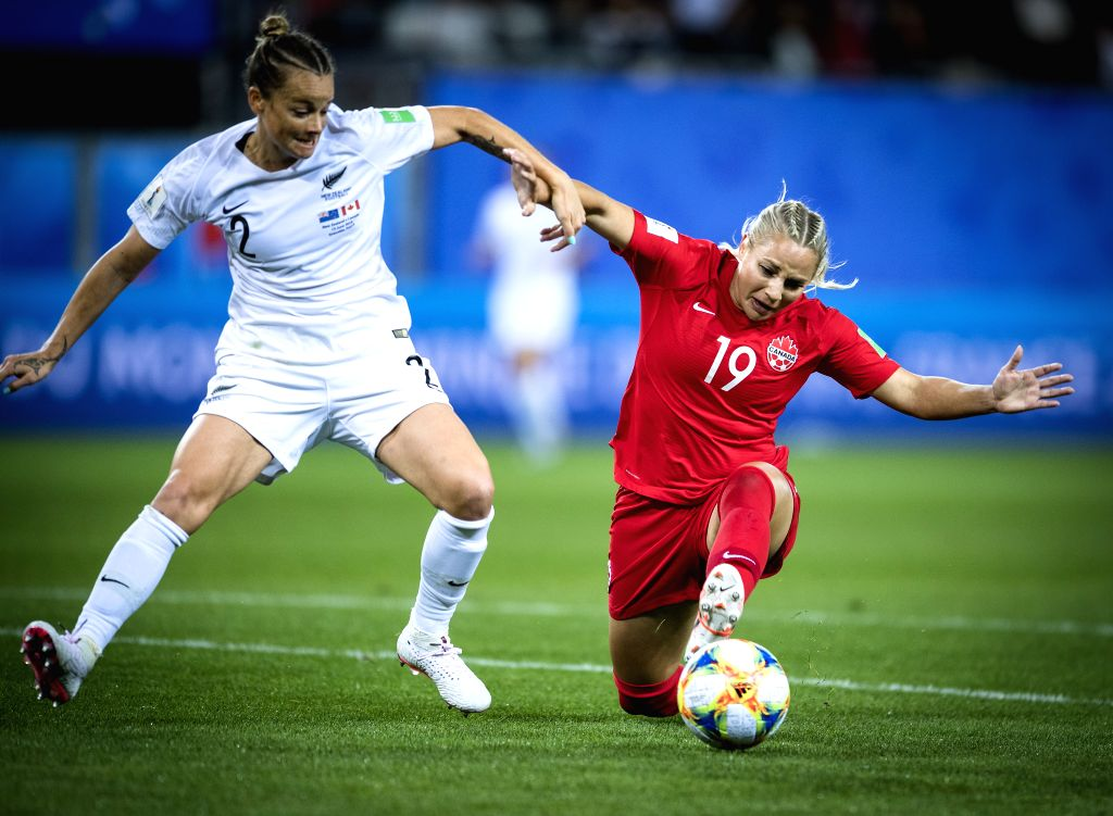 GRENOBLE, June 16, 2019 - Adriana Leon (R) of Canada vies with Ria Percival of New Zealand during the group E match between Canada and New Zealand at the 2019 FIFA Women's World Cup in Grenoble, ...