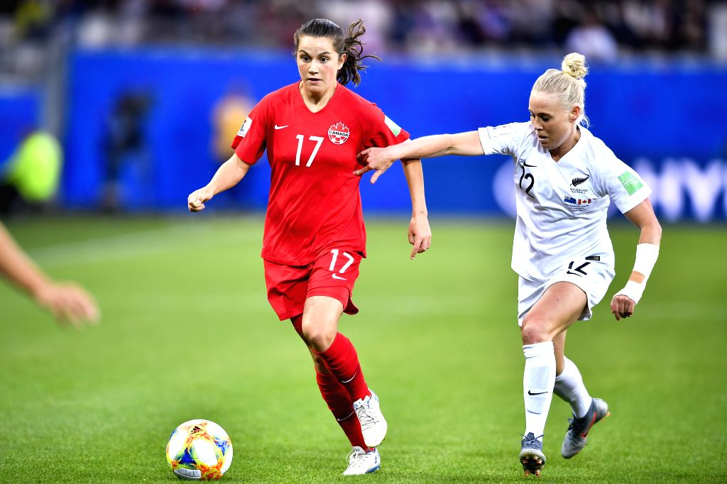 GRENOBLE, June 16, 2019 - Jessie Fleming (L) of Canada vies with Betsy Hassett of New Zealand during the group E match between Canada and New Zealand at the 2019 FIFA Women's World Cup in Grenoble, ...