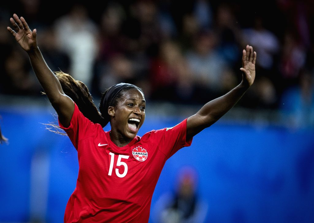 GRENOBLE, June 16, 2019 - Nichelle Prince of Canada celebrates during the group E match between Canada and New Zealand at the 2019 FIFA Women's World Cup in Grenoble, France on June 15, 2019. Canada ...