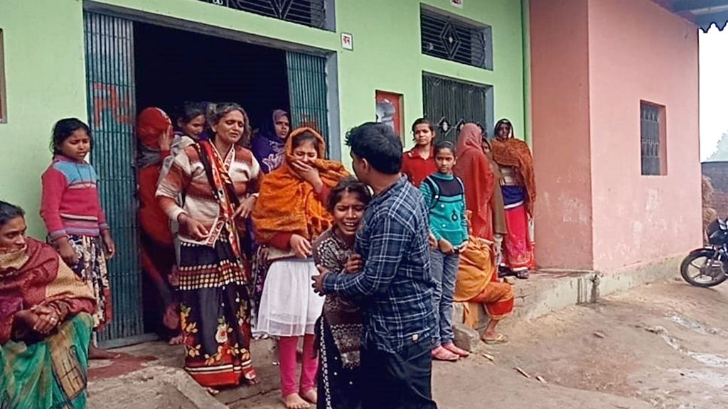 Grief struck family of Mahesh Kumar one of the 45 CRPF personnel killed in a suicide attack by militants in Jammu and Kashmir's Pulwama district on 14th Feb 2019; in Newdhiyaa of Uttar ... - Mahesh Kumar