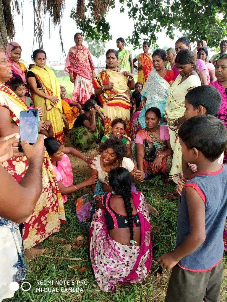 Grief struck relatives of the two persons killed after being run over by a train in Bihar's Punpun on Sep 5, 2019.
