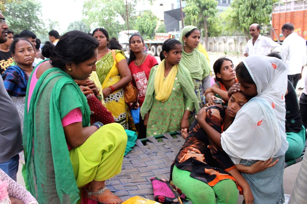 Grif struck relatives of the victims who died in Okhla LPG cylinder blast in New Delhi on June 27, 2017. Reportedly five persons, including three women, a man and a six- year-old girl died ...