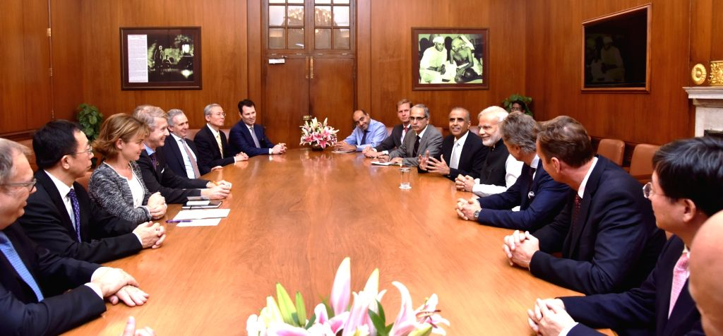 GSMA Board Members calls on Prime Minister Narendra Modi in New Delhi on Oct 26, 2016. - Narendra Modi