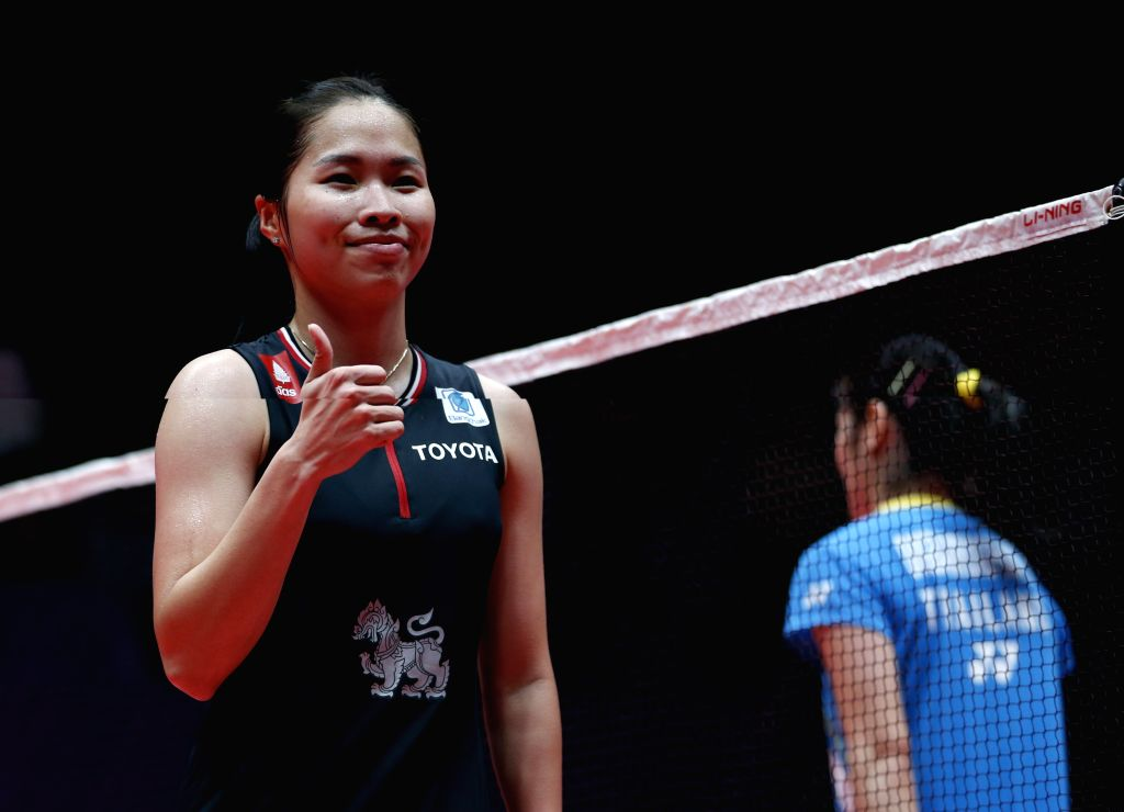 GUANGZHOU, Dec. 11, 2019 - Thailand's Ratchanok Intanon gestures after beating her compatriot Busanan Ongbamrungphan during the women's singles Group B match at BWF World Tour Finals 2019 in ...