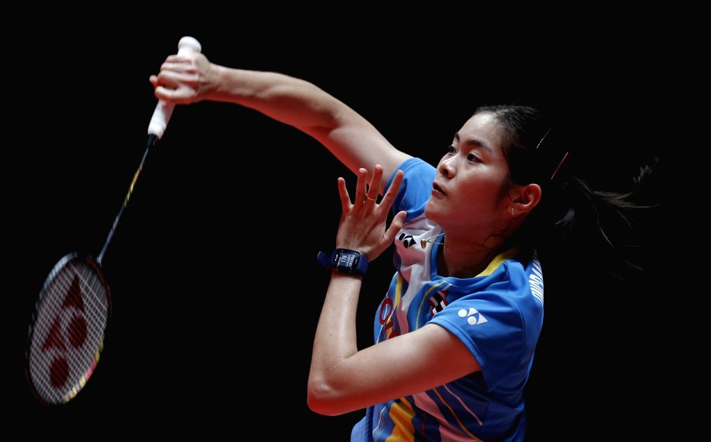 GUANGZHOU, Dec. 12, 2019 - Busanan Ongbamrungphan of Thailand competes during the women's singles group B match against Nozomi Okuhara of Japan at the BWF World Tour Finals 2019 in Guangzhou, capital ...