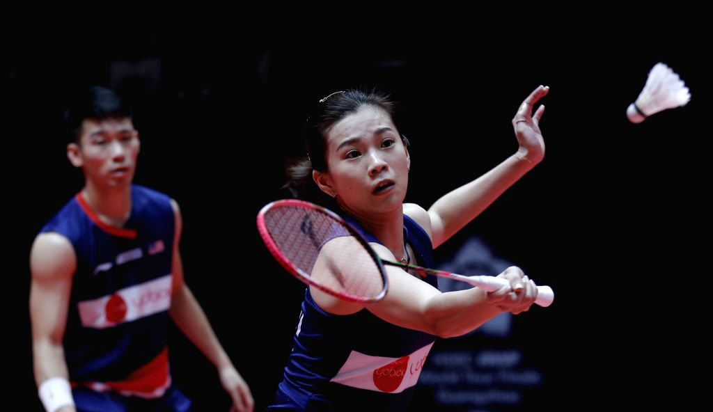 GUANGZHOU, Dec. 13, 2019 - Chan Peng Soon/Goh Liu Ying (R) of Malaysia compete during the mixed doubles group A match against Seo Seung Jae/Chae Yujung of South Korea at the BWF World Tour Finals ...