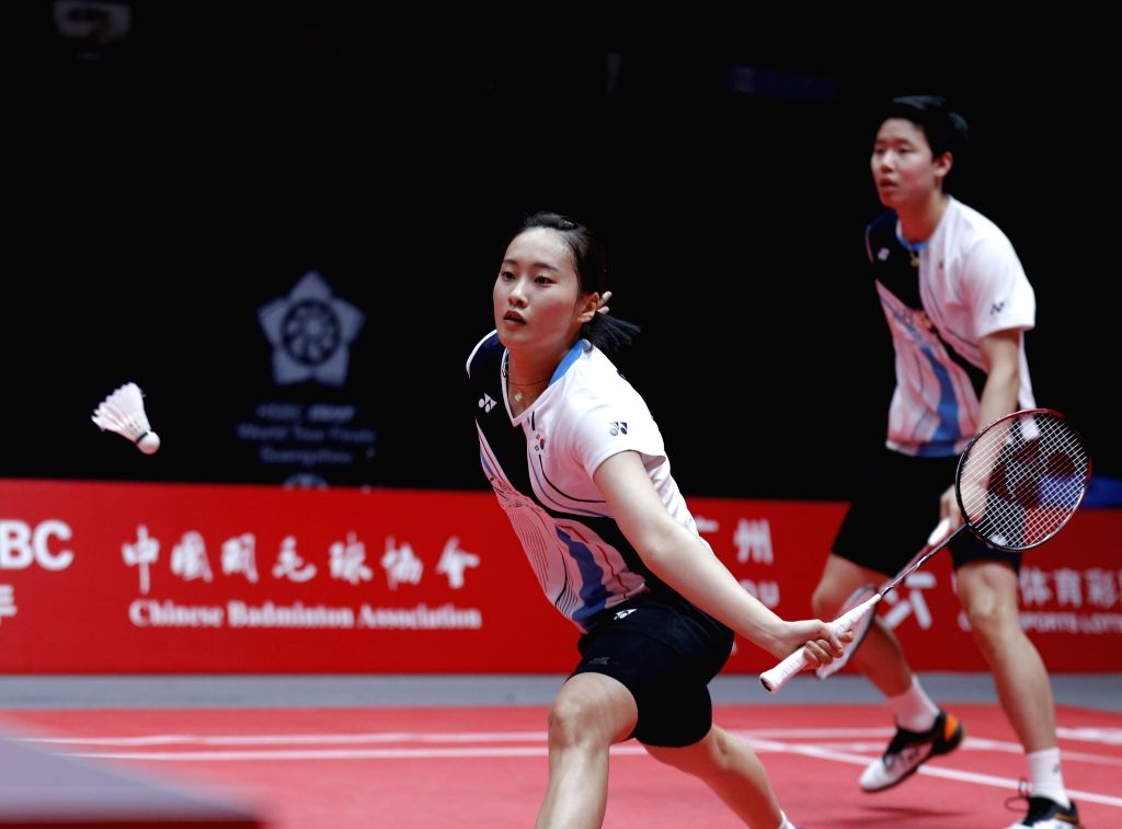 GUANGZHOU, Dec. 13, 2019 - Seo Seung Jae/Chae Yujung (L) of South Korea compete during the mixed doubles group A match against Chan Peng Soon/Goh Liu Ying of Malaysia at the BWF World Tour Finals ...