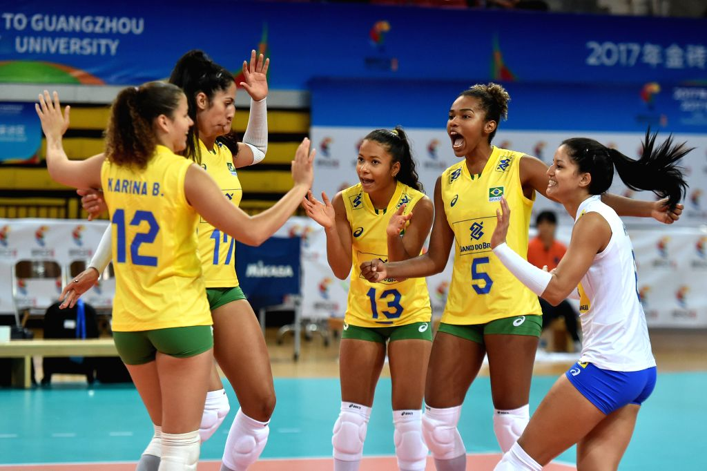 GUANGZHOU, June 18, 2017 - Players of Brazil celebrate after scoring during the women's volleyball match against South Africa at 2017 BRICS Games in Guangzhou, south China's Guangdong Province, June ...