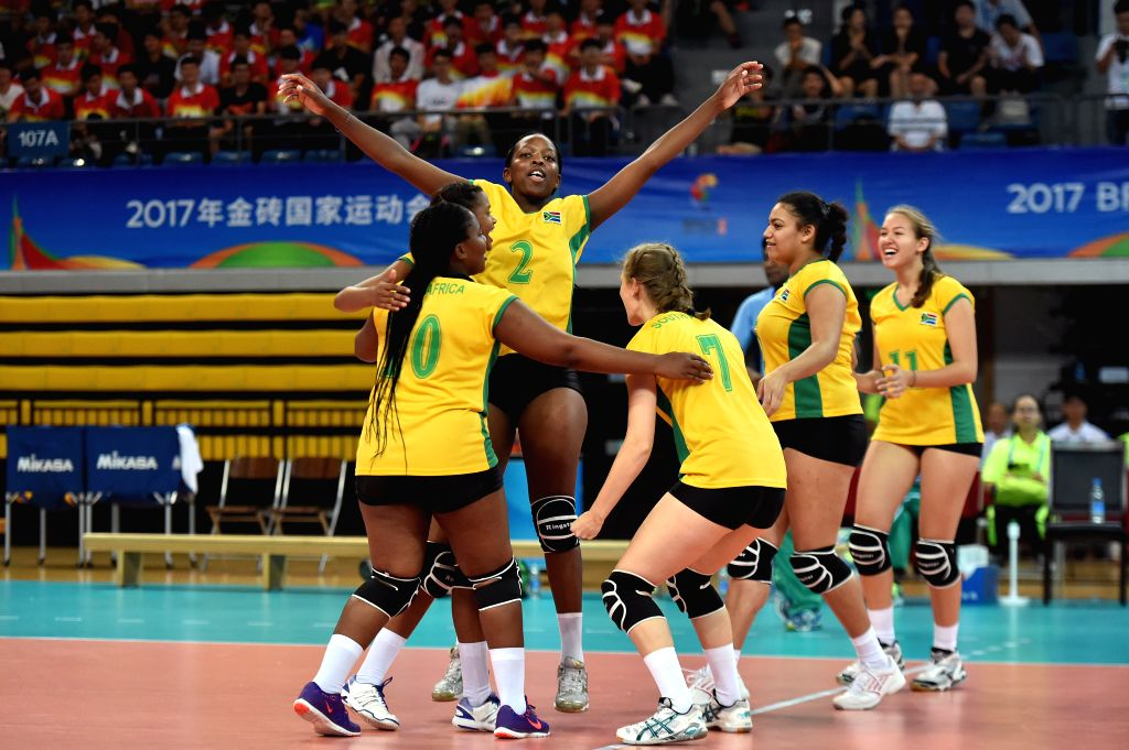 GUANGZHOU, June 18, 2017 - Players of South Africa celebrate after scoring during the women's volleyball match against Brazil at 2017 BRICS Games in Guangzhou, south China's Guangdong Province, June ...