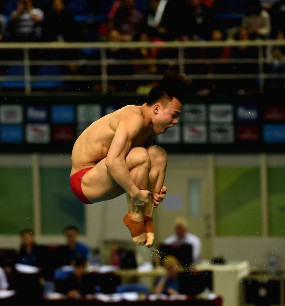 GUANGZHOU, March 10, 2017 - China's Xie Siyi competes during the Men Springboard 3m event at the 2017 FINA Diving World Series in Guangzhou, capital of south China's Guangdong Province, March 10, ...