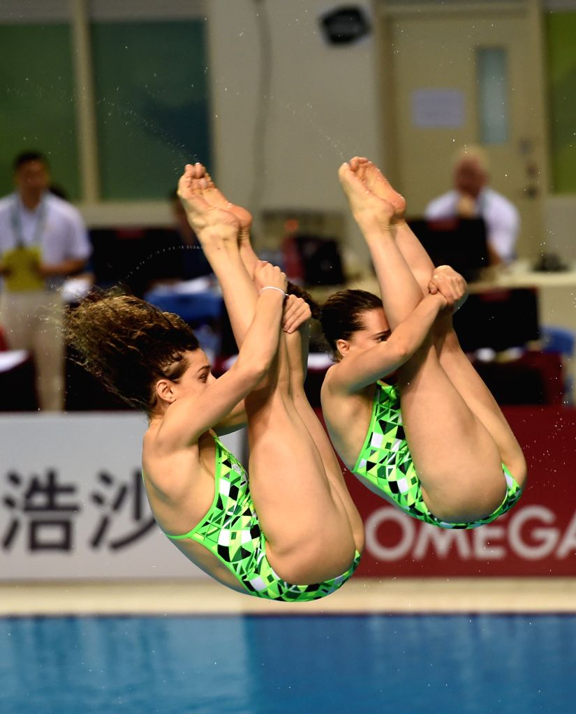 GUANGZHOU, March 9, 2017 - Australia's Anabelle Smith/Maddison Keeney (L) compete during the Women Synchronised 3m event at the 2017 FINA Diving World Series in Guangzhou, capital of south China's ...