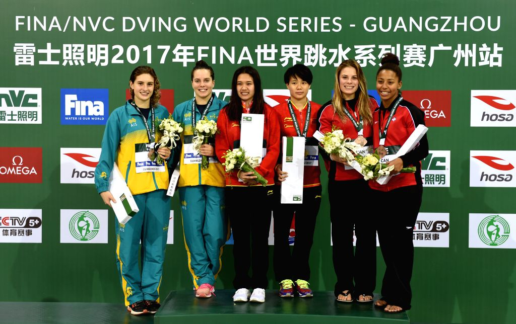 GUANGZHOU, March 9, 2017 - (From L to R) Silver medalists Australia's Maddison Keeney/Anabelle Smith, gold medalists China's Xu Zhihuan/Shi Tingmao and bronze medalists Canada's Melissa Citrini ...