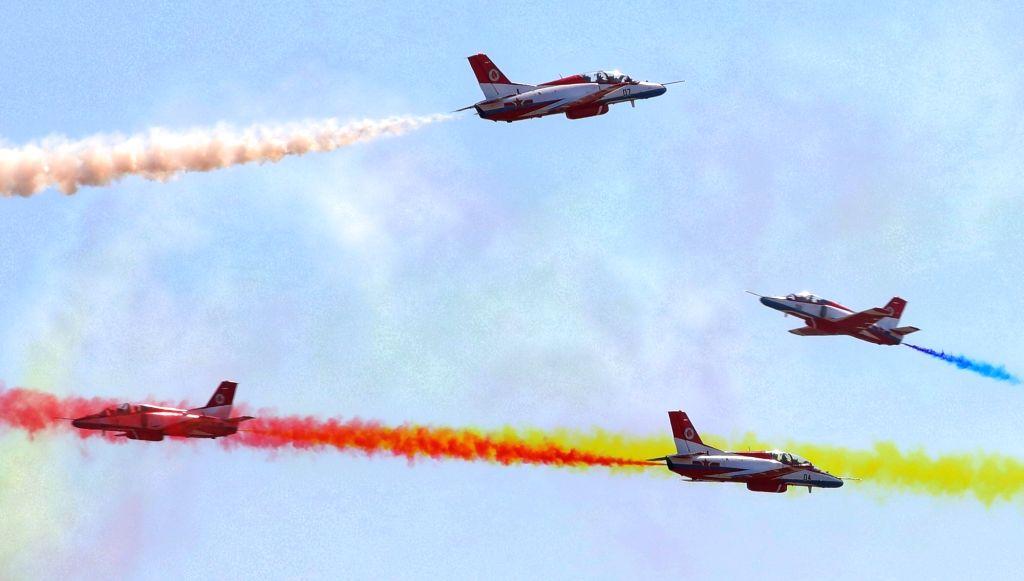 GUANGZHOU, Nov. 8, 2018 - China's Hongying (Red Eagle) Aerobatic Team perform at the 12th China International Aviation and Aerospace Exhibition (Airshow China) in Zhuhai, south China's Guangdong ...