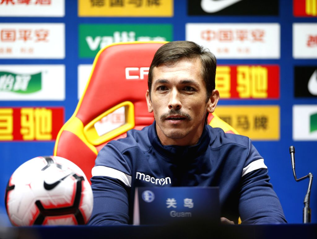 GUANGZHOU, Oct. 9, 2019 - Guam's captain Jason Cunliffe attends the press conference one day ahead of the group A second round match between China and Guam at the FIFA World Cup Qatar 2022 and AFC ... - Jason Cunliffe