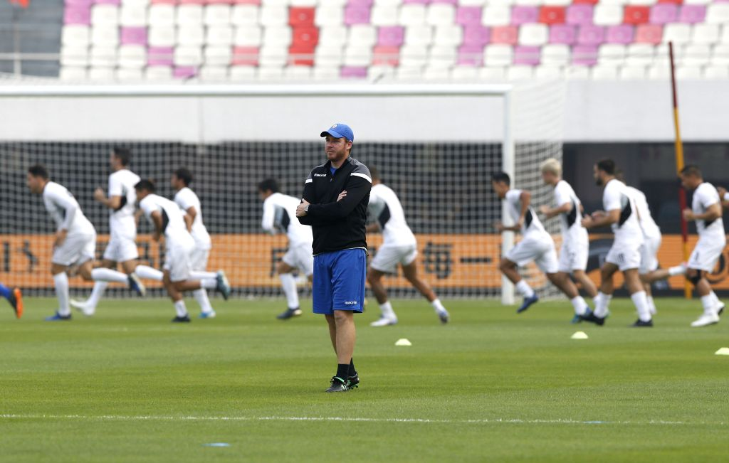 GUANGZHOU, Oct. 9, 2019 - Guam's head coach Karl Dodd of Australia attends the training session one day ahead of the group A second round match between China and Guam at the FIFA World Cup Qatar 2022 ...