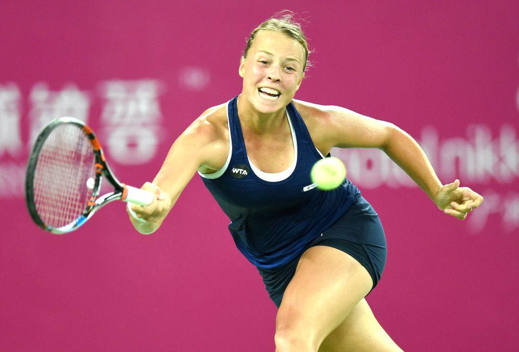 GUANGZHOU, Sept. 23, 2016 - Anett Kontaveit of Estonia returns the ball to Lesia Tsurenko of Ukraine during their singles semifinal at 2016 WTA Guangzhou International Women's Open tennis tournament ...