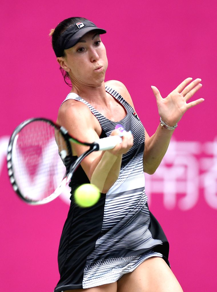 GUANGZHOU, Sept. 23, 2016 - Jelena Jankovic of Serbia returns the ball to Ana Konjuh of Croatia during their singles semifinal match at 2016 WTA Guangzhou International Women's Open tennis tournament ...